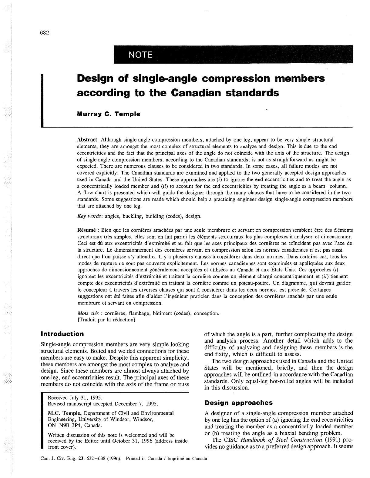 Design Of Single Angle Compression Members According To The Canadian Standards Pdf Document