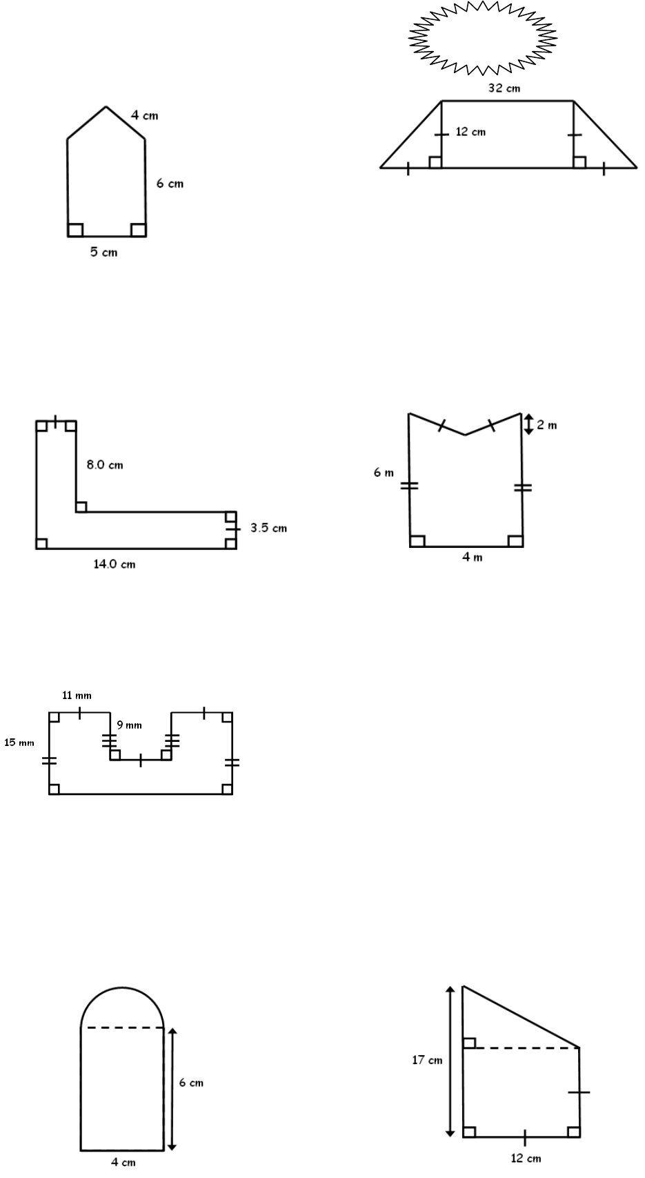 Perimeter and Area of Composite Figures Worksheet 2012-13 ...