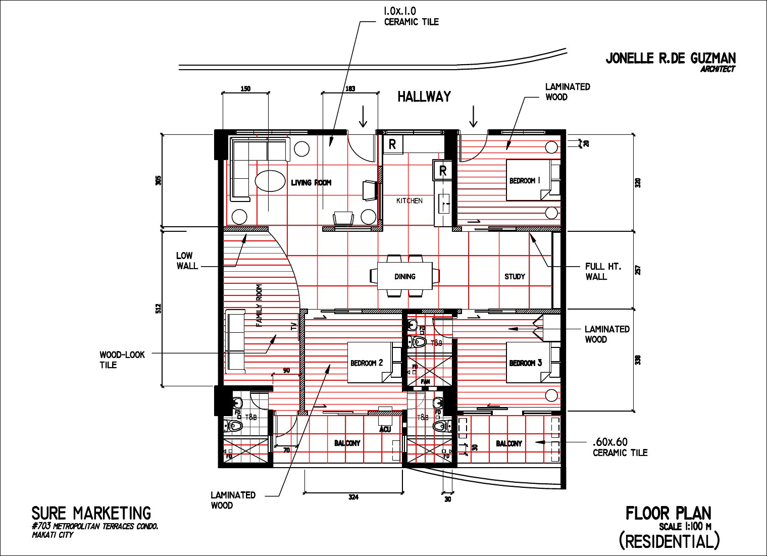 Floor Plan Residential With Tile Layout 2 Pdf