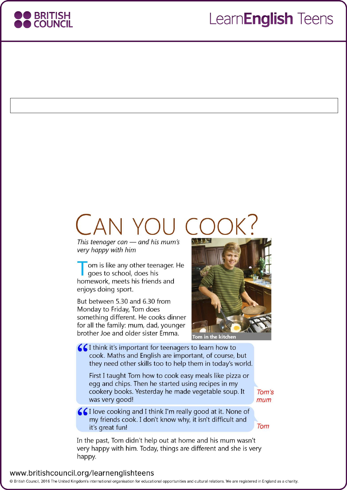- Reading Skills Practice: Can You Cook? Exercises ? Reading Skills
