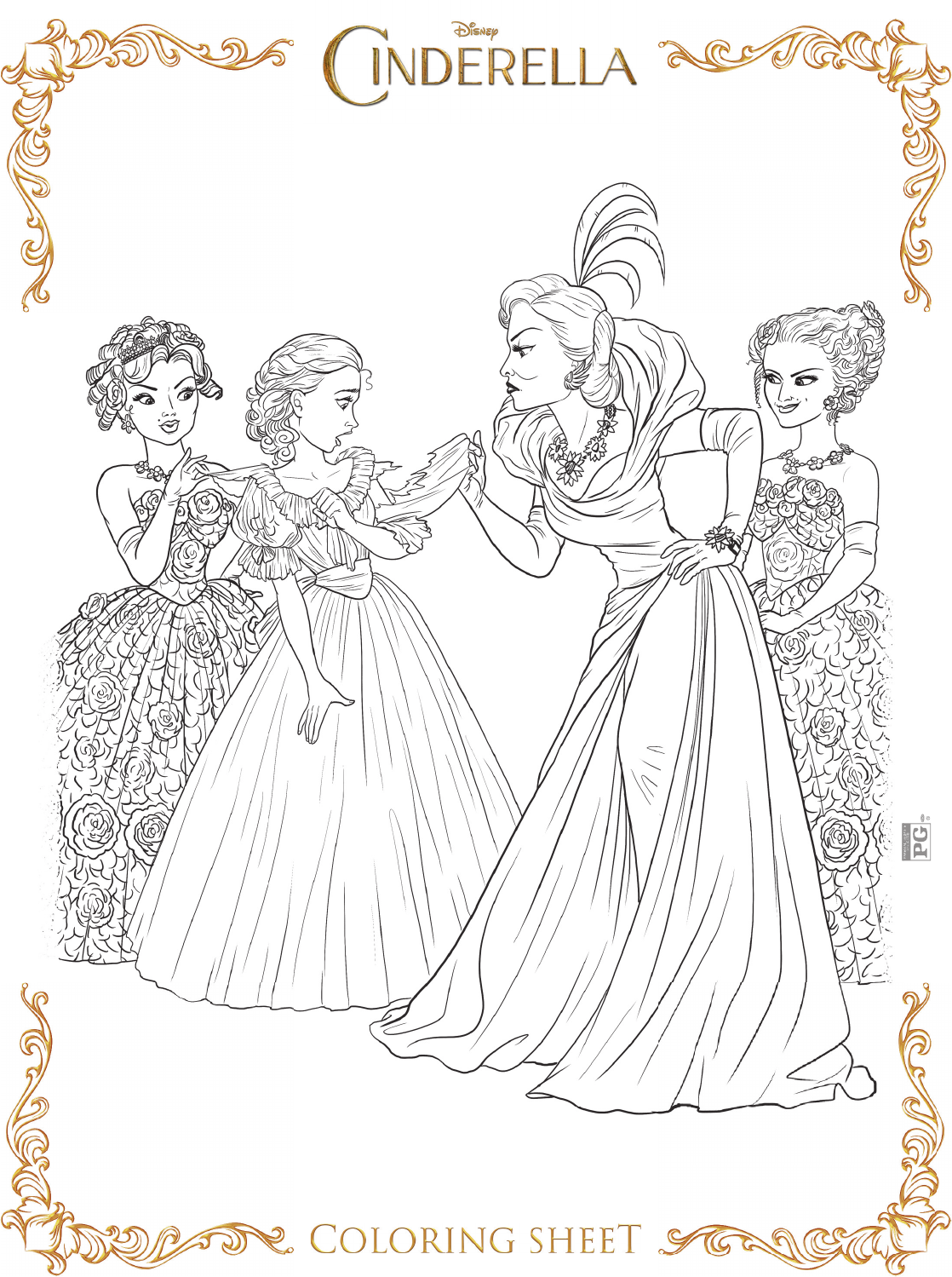 Stepmother to Cinderella coloring pages. Disney villain ... | 1499x1118