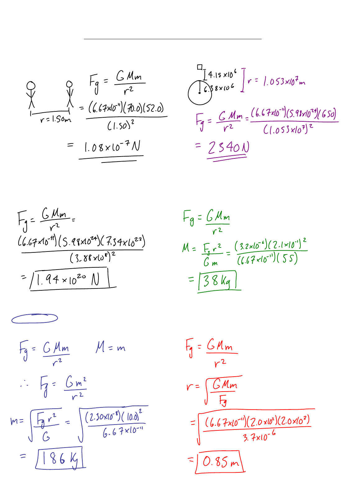 Worksheet 5.1 Newtons Law of Universal Gravitation Two ...