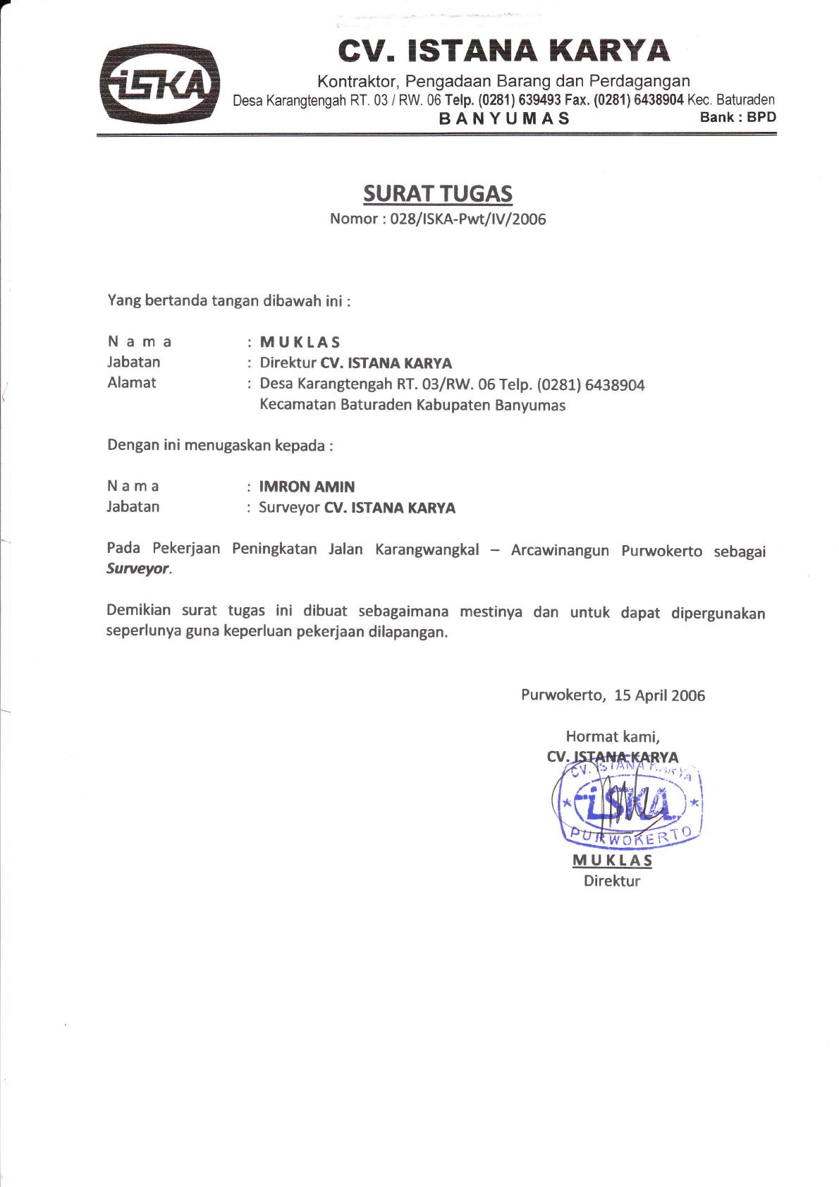 Surat Tugas Surveyor