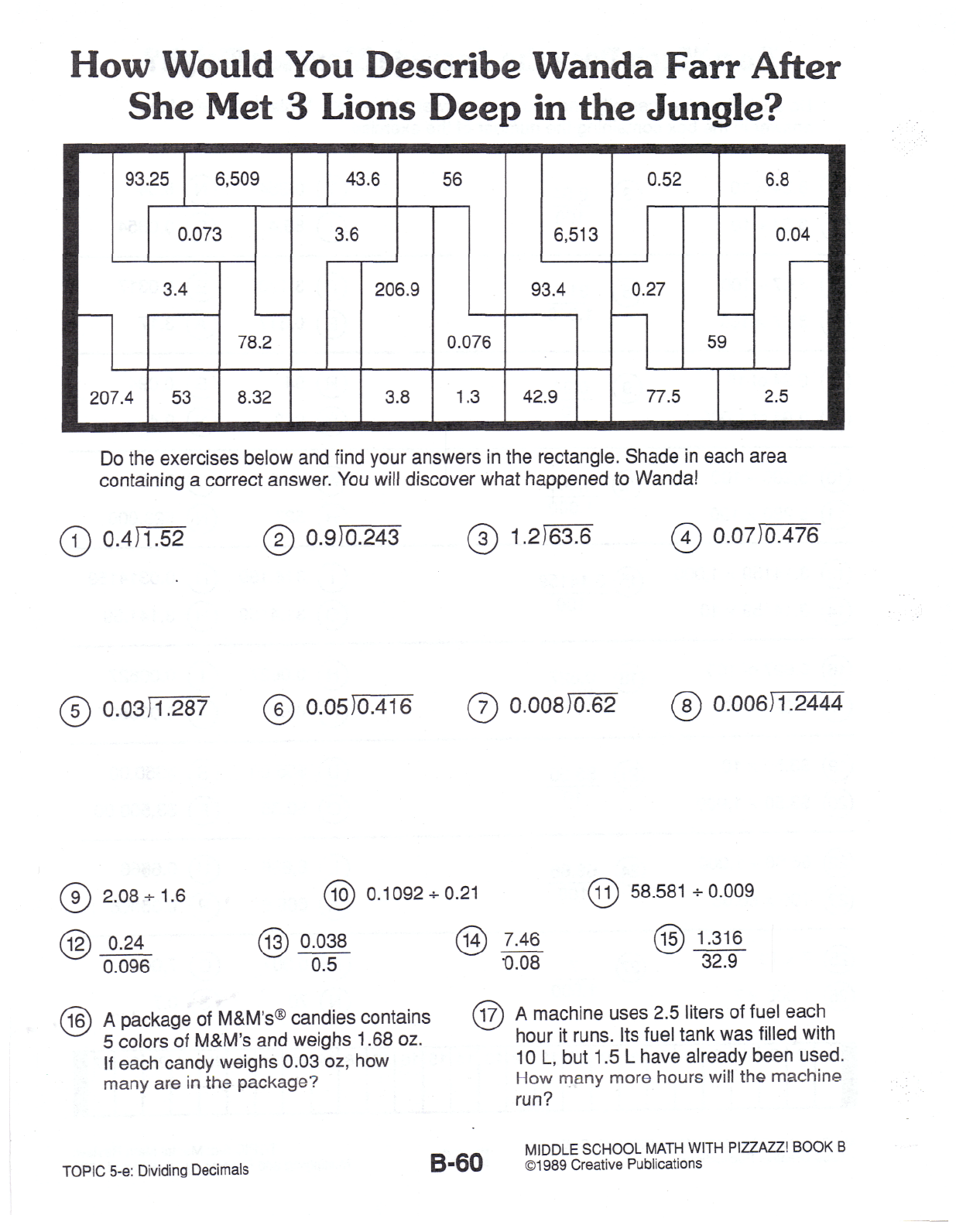 myfoamiranmakes: Worksheet Middle School Math With Pizzazz ...